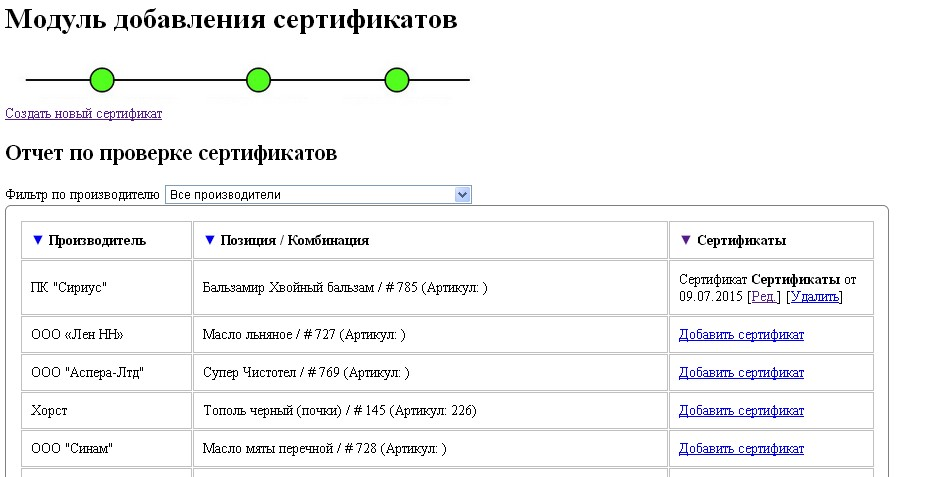 Отчет о наличии сертификатов с фильтром по производителю